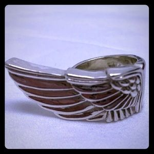 Queen Baby angel wing ring band 925 24 grams